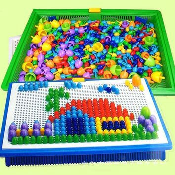 Creative Peg Board with 296 Pegs Model Building Kits Building Toy Intelligence for kids Random Color @Z08