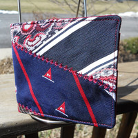 Sailboats Plaid Paisley's Vintage Upcycled Neck Tie Bi-Fold Wallet Unisex, Card Holders, mens tie wallet,