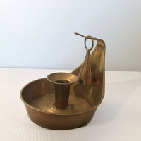 Brass Candlestick Holder with Snuffer, Candle Holder with Handle Vintage Solid Brass