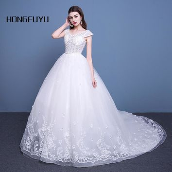 Luxury Tulle Cap Sleeve Bead V Neck Long Wedding Dresses Sashes Flowers Backless Ball Gown Wedding Gowns