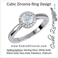Cubic Zirconia Engagement Ring- The Uma (Round Cut Petite Halo)