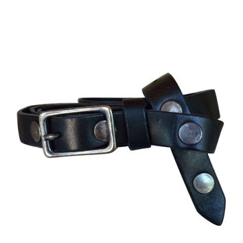 Studded Single Wrap Skinny Belt | Genuine Leather - Black with Antique Silver