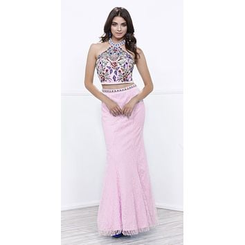 Embroidered Halter Top Lace Mermaid Skirt Two-Piece Prom Gown Baby Pink