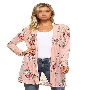 Pink or White Floral Printed Long Sleeve Casual Cardigan