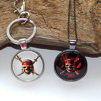 Pirates of the Caribbean logo pendant necklake keychain, Pirate medallion, Pirate simbol, Pirate Skull emblem patch Captain Jack Sparrow's