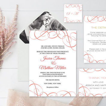 Wedding Invitation Suite Templates, Coral Swirls Wedding Invitation Kits, Printable Wedding Invitation, DIY Suite Templates, DIY You Print