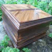 Handcrafted Wooden Treasure Box with Cross Design on Top