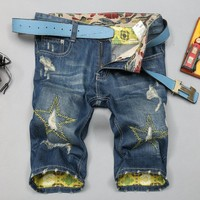 Summer Ripped Holes Pants Korean Slim Denim Jeans [6541770755]