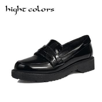 New England Style Round Toe Patent Leather Slip-on Flat Oxford Shoes For Women Vintage Platform Creepers Women Loafers Size 43