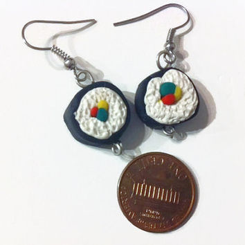 Sushi Earrings, Kawaii, food jewelry, polymer clay charms, sushi rolls, miniature food, gag gifts, gift ideas, food earrings, polymer charms