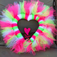 Pink and green valentine tulle heart wreath