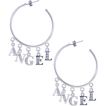 Crystalline Gem Dangling ANGEL Hoop Earrings