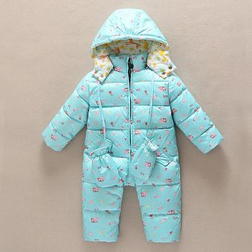Warm Winter Children Jumpsuit Baby girls boys Rompers hooded toddler snowsuit costume Thick duck down kids overalls long sleeve