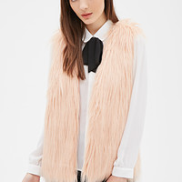 FOREVER 21 Shaggy Faux Fur Vest Blush