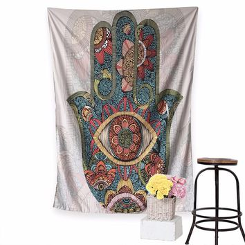 Hamsa Hand Tapestry Indian Mandala Floral Wall Hanging Tapestry for Home Psychedelic Bedspread Yoga background decoration