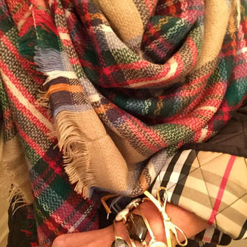 SALE! The Zara Tartan Plaid Blanket Scarf - Camel Multi Color check plaid. SAME QUALITY