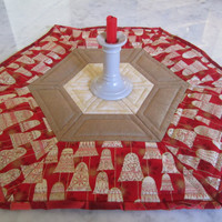 Quilted Christmas Bells Table Topper Reversible