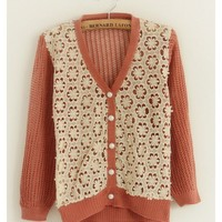 Fall Autumn Women New Style Cute Korea Flower Loose Long Sleeve Red Knitting V Neckline Sweater Cardigans One Size@AY1093r $17.94 only in eFexcity.com.