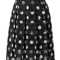 Black Polka Dot High Waist Midi Skirt