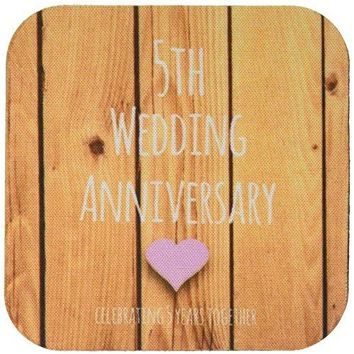 3dRose LLC cst1544331 Soft Coasters 5th Wedding Wood Celebrating 5 Years TogetherFifth Anniversaries Five Years Set of 4