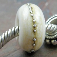 Dark Ivory Large Hole Lampwork Glass Bracelet Charm Bead With Silver