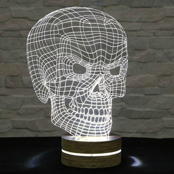 3D LED Lamp, Skull Shape, Decorative Lamp, Home Decor, Table Lamp, Office Decor, Plexiglass Art, Art Deco Lamp, Acrylic Night Light