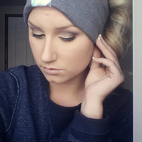 Teal Grey Chevron Sweat Headband Cozy