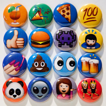 "Set of 16, 1"" pinback emoji buttons"