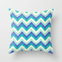 Chevron - Ocean Throw Pillow by Jacqueline Maldonado