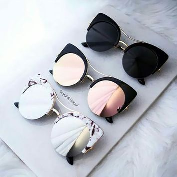 Women Luxury Brand Designer  Sunglasses Half Frame Cat Eye Vintage Shades Sun Glasses Metal Frame butterfly Gafas Cateye