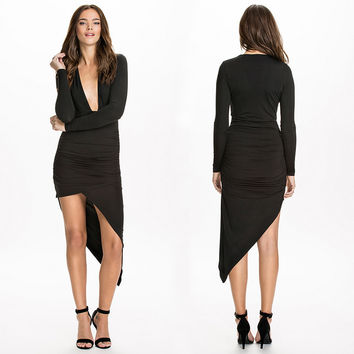 Black Low V Long Sleeve Dovetail Mini Dress