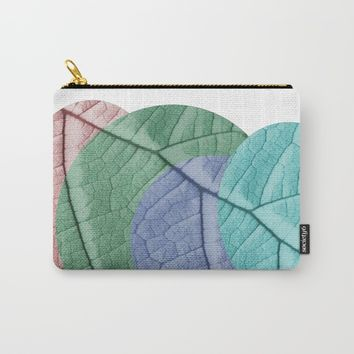 Pastel Leaf Collage Carry-All Pouch by ARTbyJWP