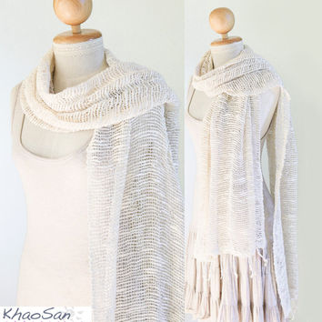 Buy 3 Get 1 Free, Loose Hand-Woven Cotton Scarf, Shawl in Off-White, Gifts for Her, Gifts for Friends, Gifts under 2o, ksc01016