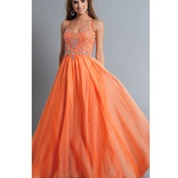 Dave & Johnny 809 Orange Embellished Spaghetti Stap Gown 2015 Prom Dresses