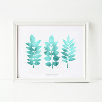 Printable wall art Teal Leaves art print, Bathroom wall art PRINTABLE, Bedroom wall decor, Leaves wall art, Teal home decor, Teal wall art