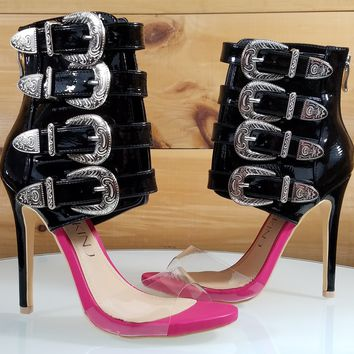 Mac J Black Patent Multi Strap High Heel Ankle Boot Sandal Fucshia