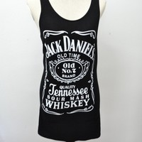 JACK DANIEL SINGLET TANK TOP T-SHIRT PUNK BIKER PARTY ROCKK COMFORT COTTON BLACK