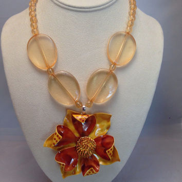 Retro Enamel Flower Necklace Earrings Set Orange Gold Chunky Pendant Vintage