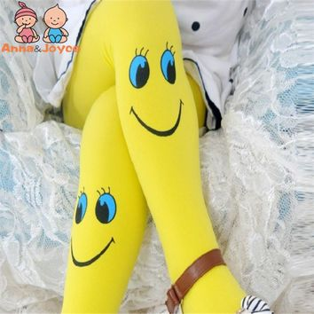 3-7 Years Children's Velvet Smiley Tights Kids Baby Spring/autumn Pantyhose Girls Dance