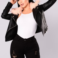 Kandace Faux Leather Jacket - Black