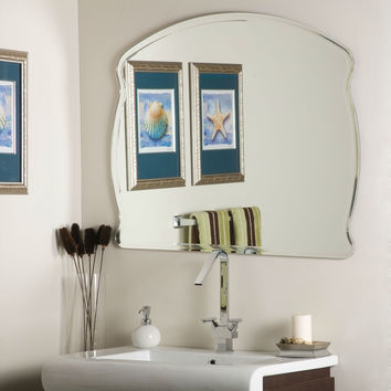 Modern 31.5 x 39.5-inch Bathroom Wall Mirror with Frameless Beveled Edging