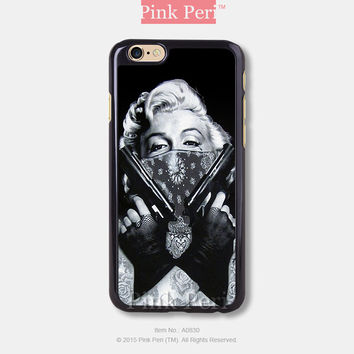 Punk Marilyn Monroe Tattoo iPhone Case Black Hard case 833