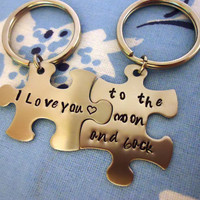 Personalized Hand Stamped Puzzle Piece Keychain Set - i love you to the moon and back - Stainless Steel