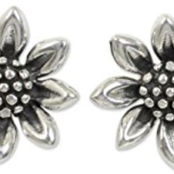 NOVICA .925 Sterling Silver Flower Stud Earrings 'Sunflower Love'