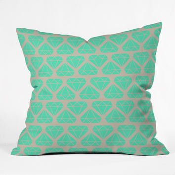 Allyson Johnson Mint Diamonds Throw Pillow