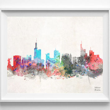 Frankfurt Skyline, Germany Watercolor, Poster, German Print, Hesse, Bedroom, Cityscape, City Painting, Living, Illustration, Europe [NO 429]