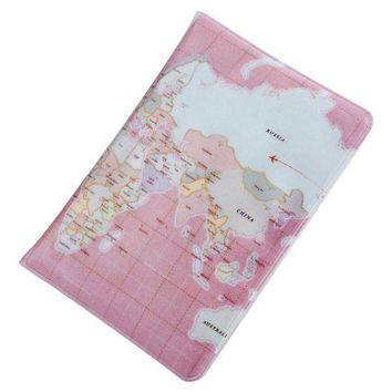 ONETOW Map Plaid Pattern Open Vertical Passport Holder for Men Women Cover ID Card Bag Passport Wallet Protective