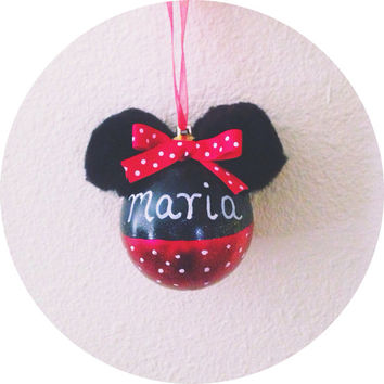 Handmade Personalized Minnie Mouse Ornament Metallic Polka Dot