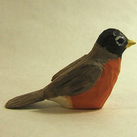 Miniature Wood Bird Hand-carved Robin