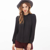 Solid Chiffon Ruffled Long Sleeves Keyhole Cutout Back Blouse
